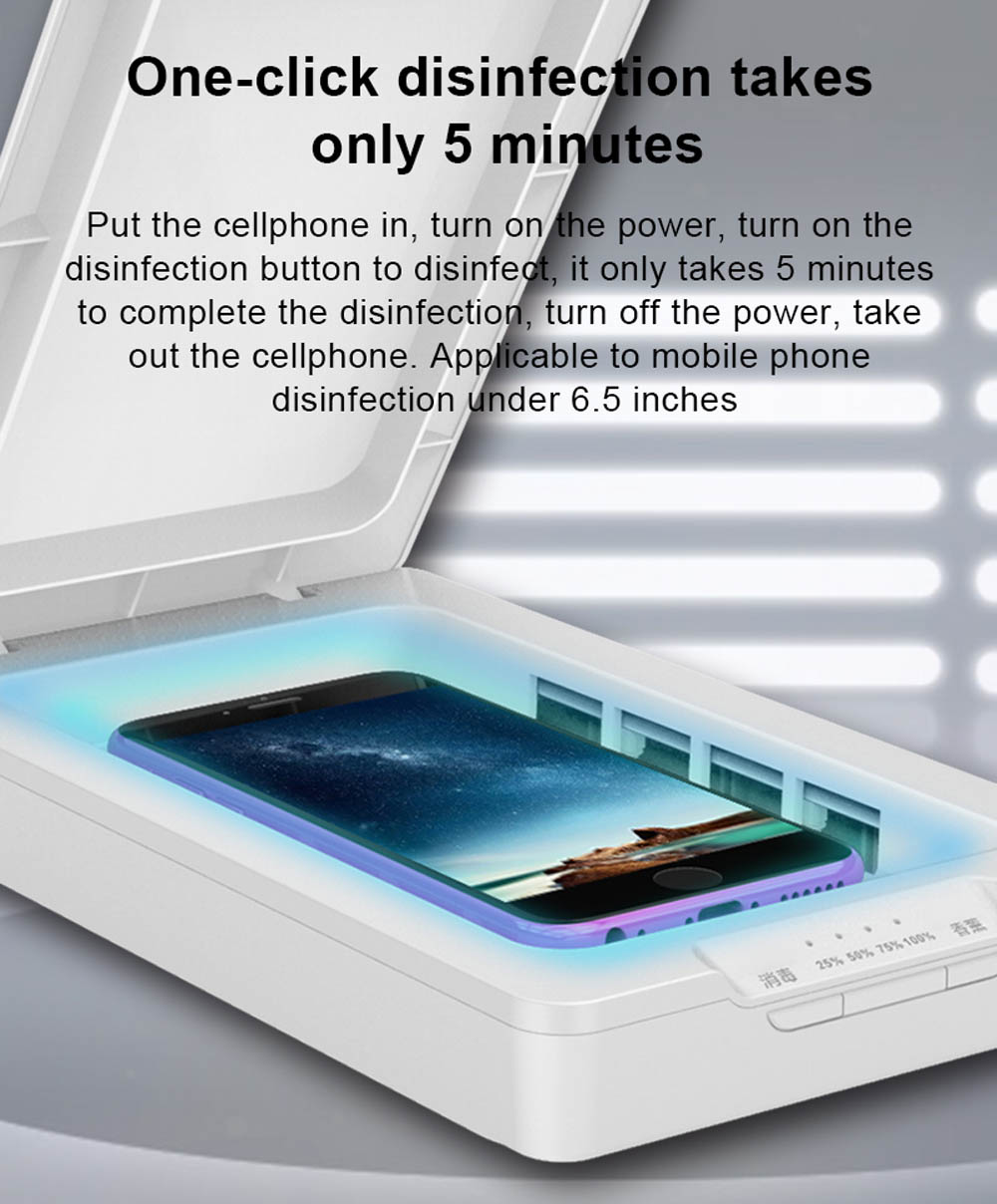 UV Ultraviolet Disinfection Box Portable Phone Antivirus Sterilizer Holder Jewelry Watch Smartphone Cleaner Disinfector- White