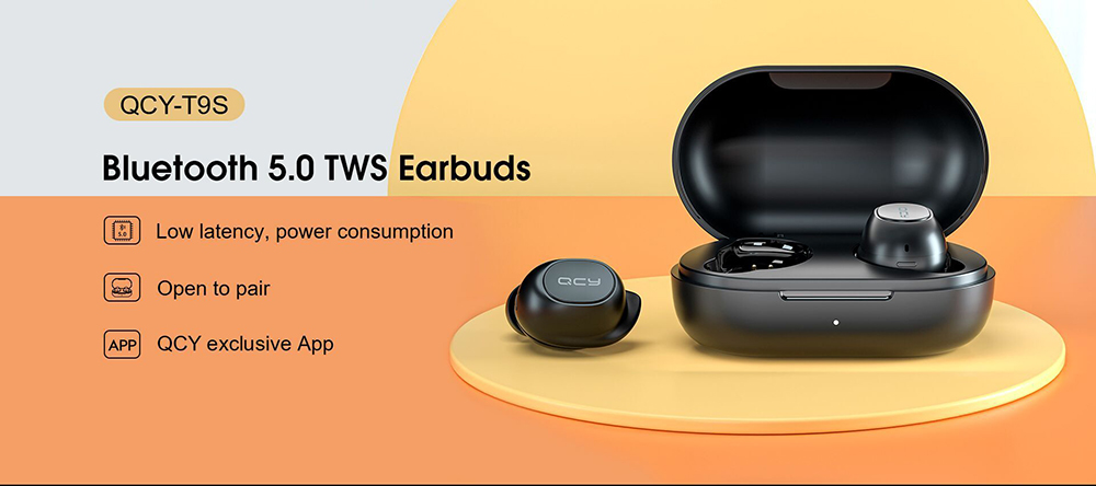 QCY T9S True Wireless Bluetooth 5.0 Earbuds TWS Sports Running Mini Earphone Ultra Small Binaural In-ear Headphone - Black