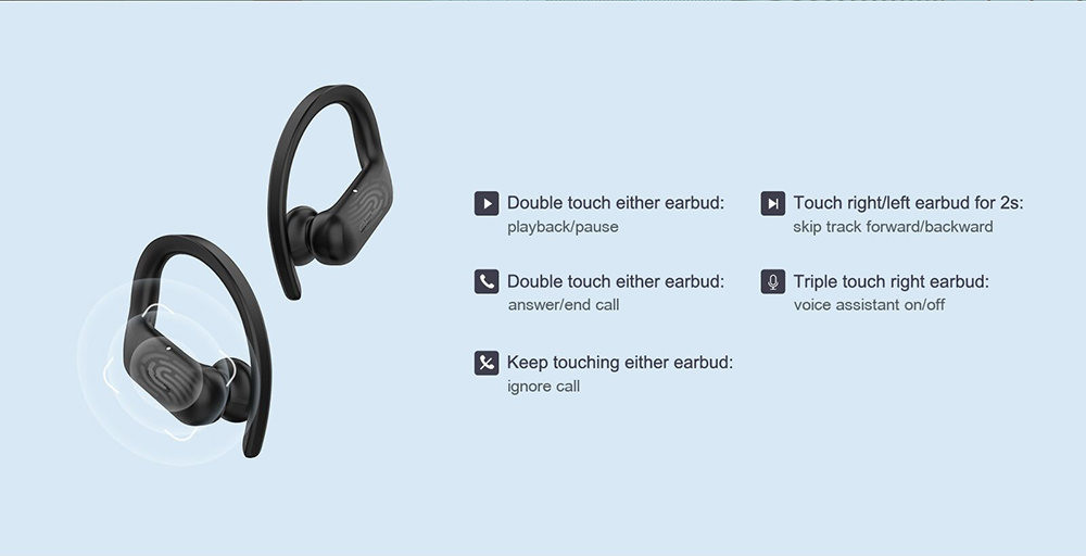 QCY T6 TWS Bluetooth 5.0 Headset with Microphone - Black