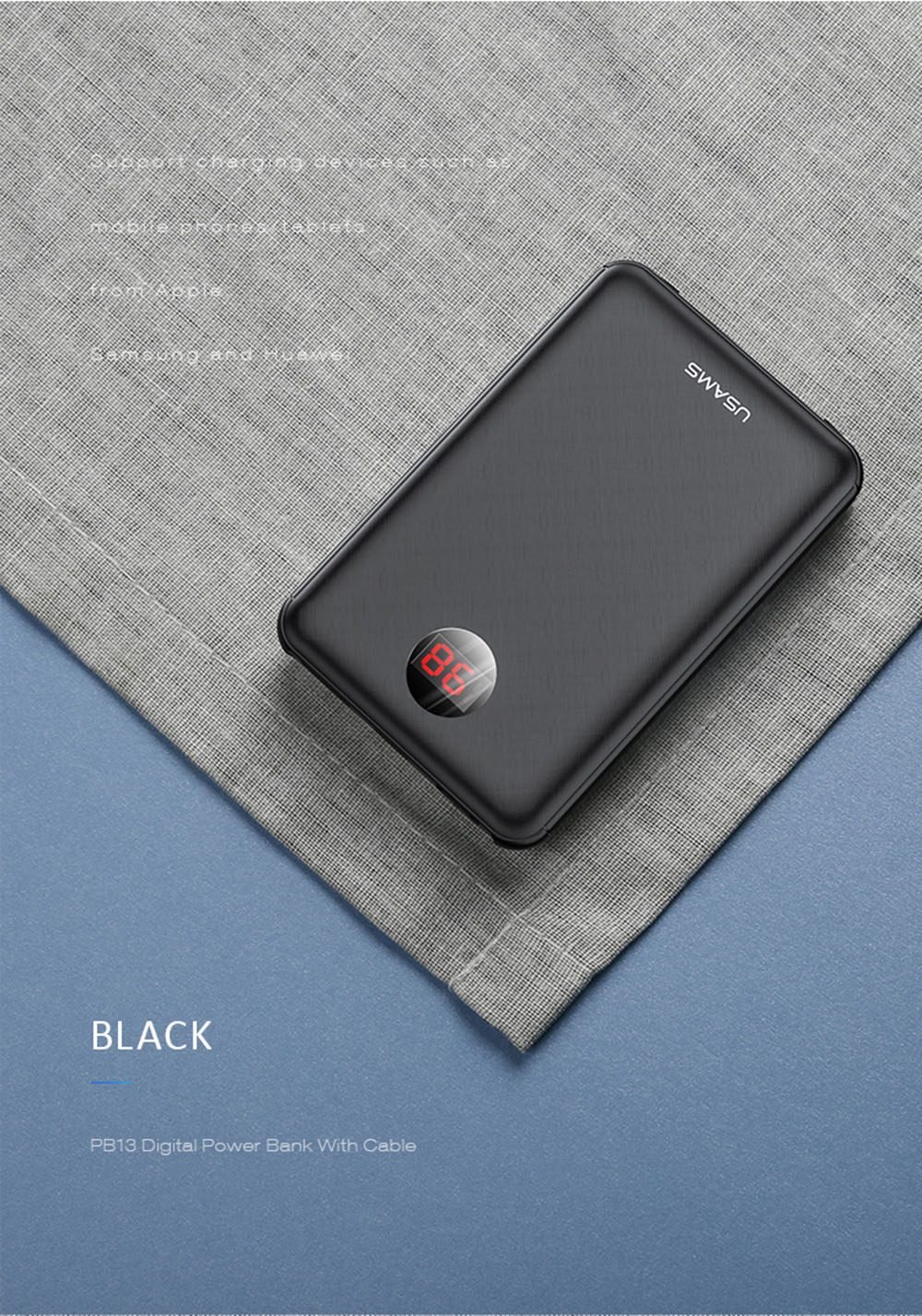 USAMS Mini Power Bank 10000mAh LED Display External Battery Fast Charging for Xiaomi iPhone- Black