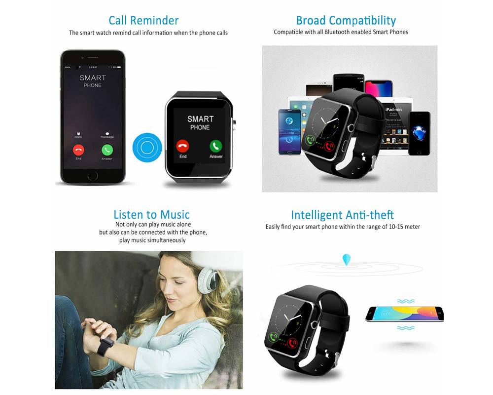 X6 Bluetooth Smart Watch with Camera Touch Screen Sports Smartwatch for Android IOS Sim Card - Black