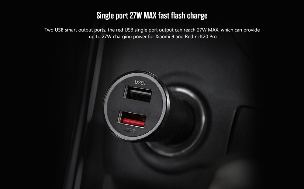 Xiaomi CC06ZM Car Charger Dual USB Fast Charging Version 37W Max with LED Light - Black
