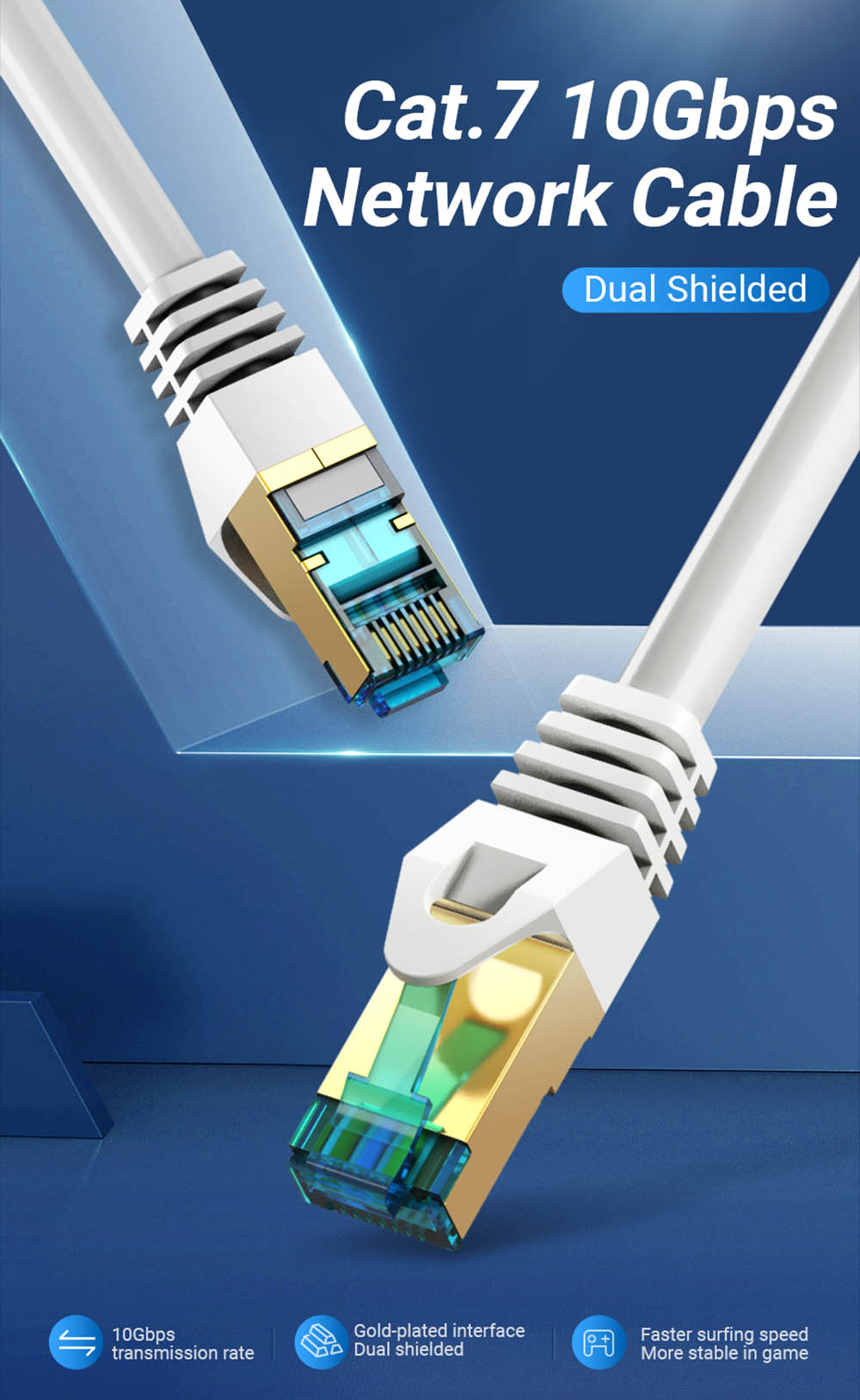 Vention ICEH CAT7 SSTP Network Ethernet Cable Gold-plated Twited Wire PVC Soft Line for PC Router Laptop- Gray 0.75M