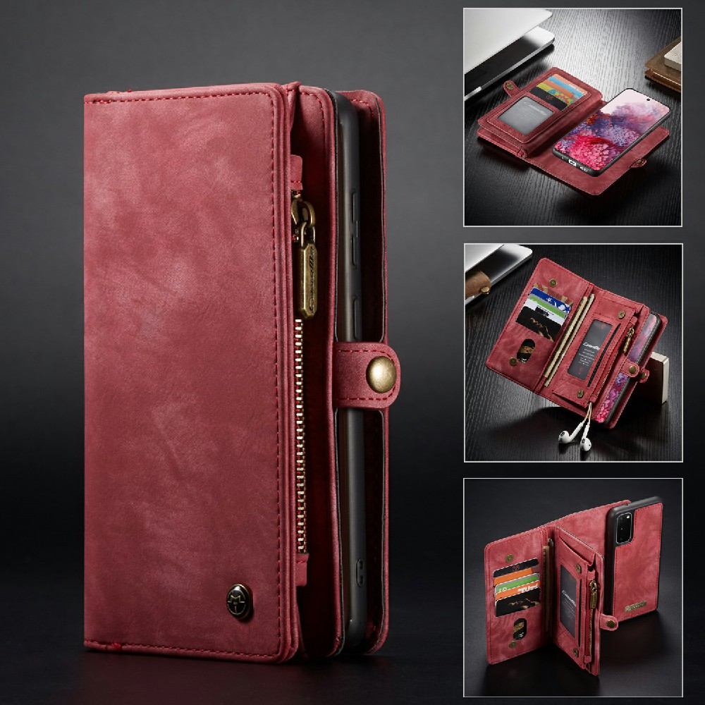 CaseMe Wallet Leather Case with Detachable Flip Magnetic Cove for Samsung S20- Brown