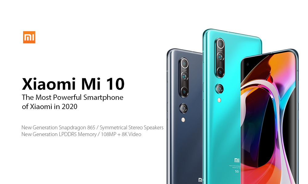 Xiaomi Mi 10 5G Smartphone 6.67 Inch Snapdragon 865 X55 Octa Core 108MP Penta Camera 4780mAh Battery Global Version- Medium Turquoise 8 + 128GB