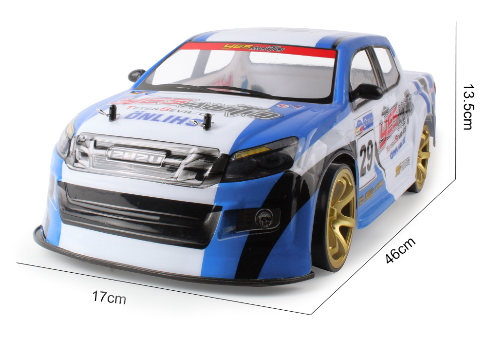 1:10 4WD Remote Control 70km/h High-speed Car with Light Drift Racing Dual Battery- Green