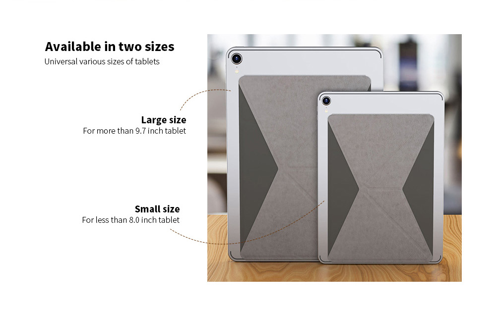 Pasted Thin Magnetic Tablet PC Holder Folding Portable Bracket PU Leather Stand Youth Version for iPad Xiaomi Huawei Tablet- Battleship Gray S