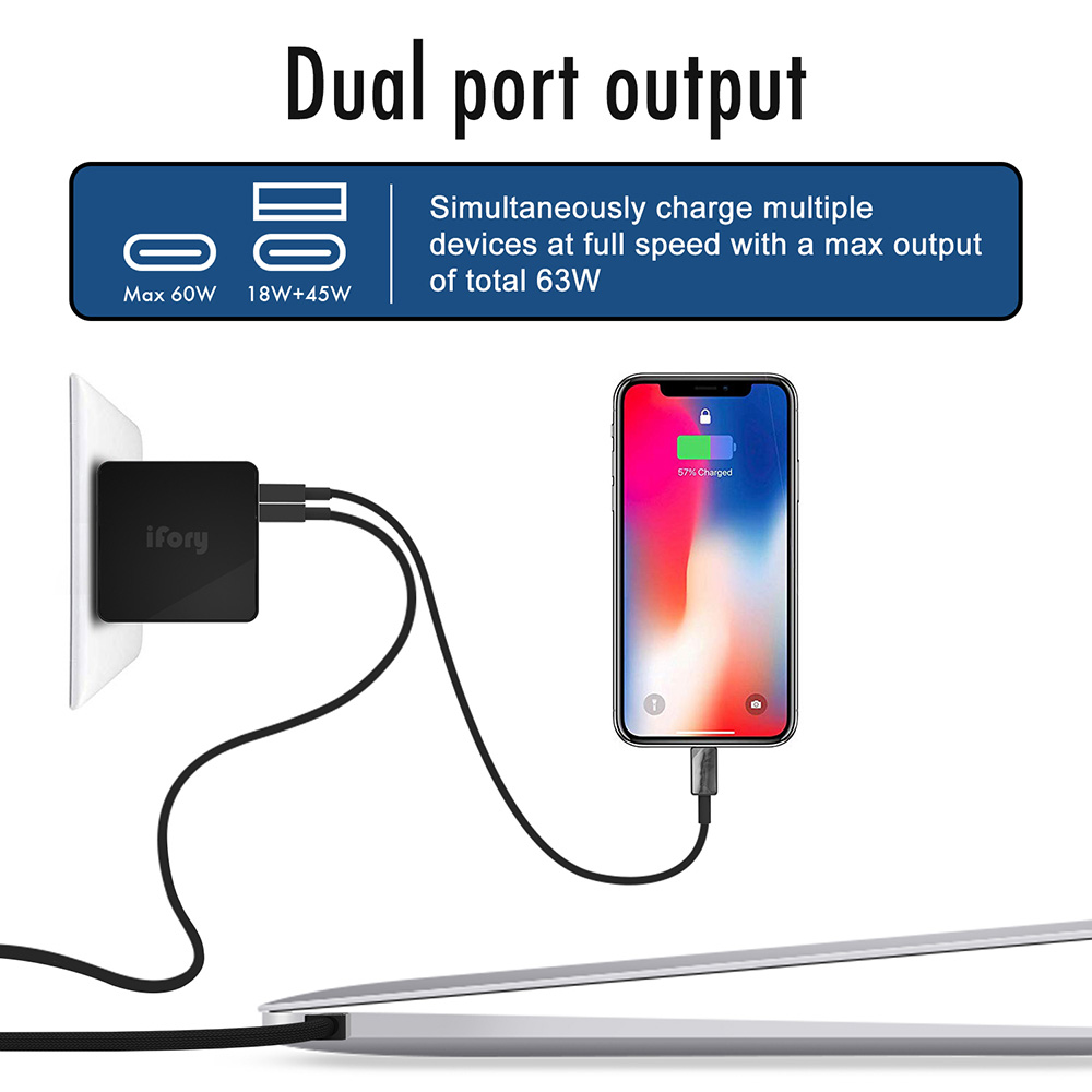 2-in-1 Type A + Type C Dual Port Output Fast Charging Travel Power Adapter 63W- Concord Chinese Plug (2-pin)