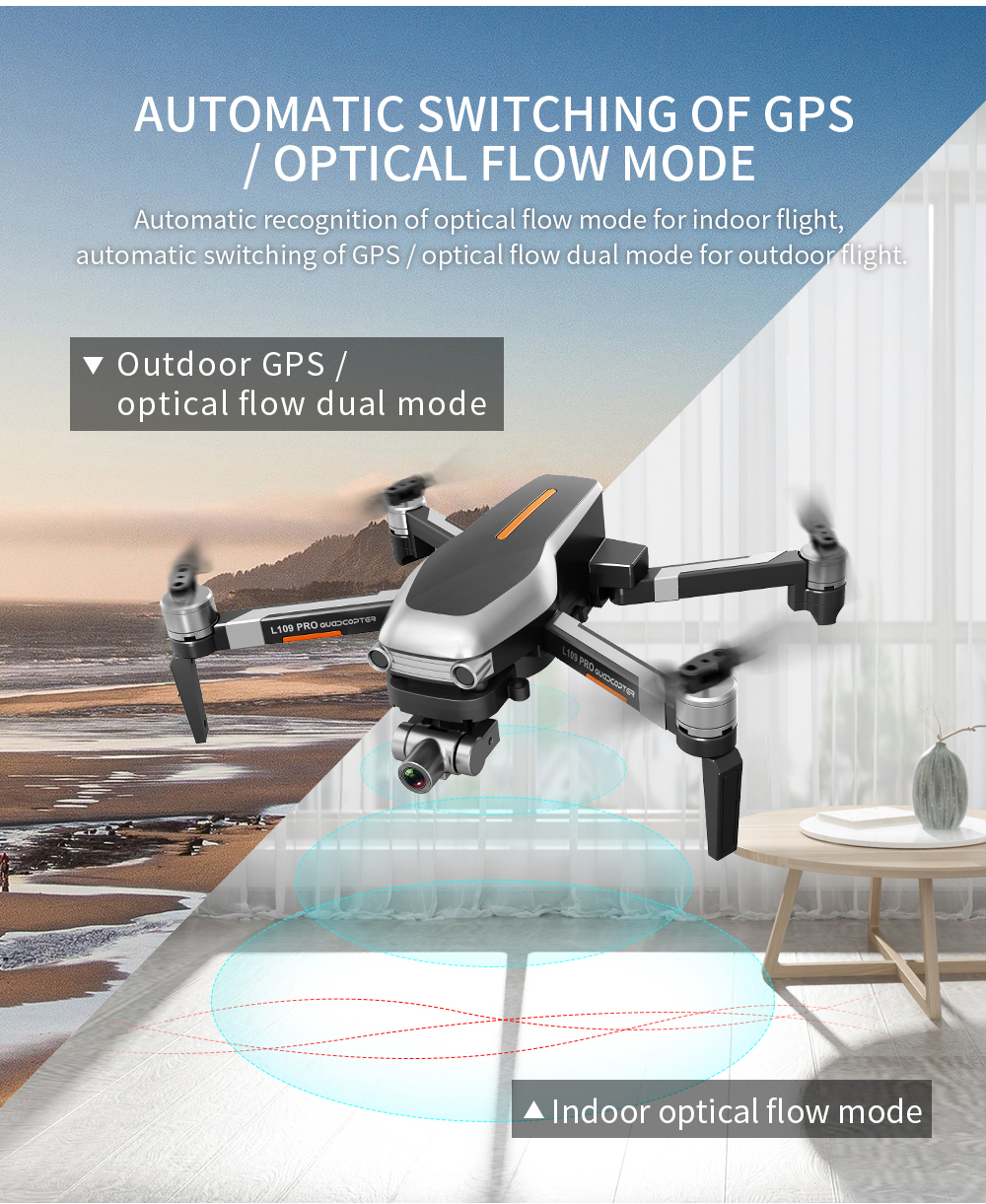 L109 PRO GPS 5G WiFi 800M FPV with 4K HD Camera 2-Axis Mechanical Stabilization Gimbal Optical Flow Positioning RC Quadcopter- Gray 1 Battery with Box