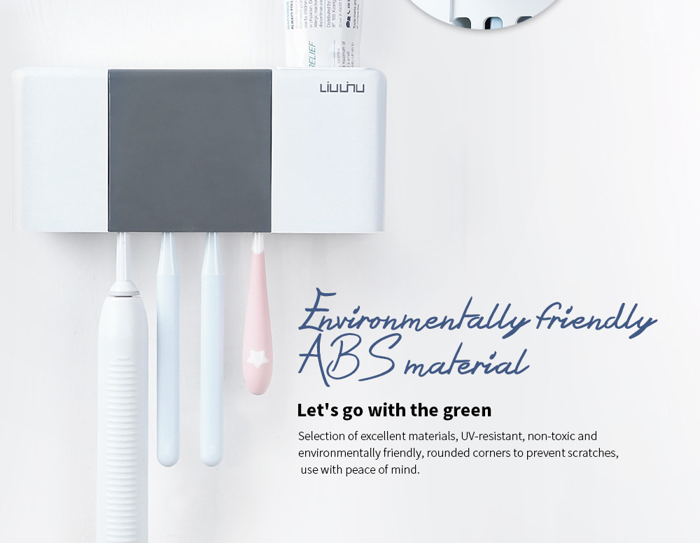 Liushu Toothbrush Sterilizer Box UV Disinfection Toothpaste Dispenser Tooth Brush Holder from Xiaomi youpin- White