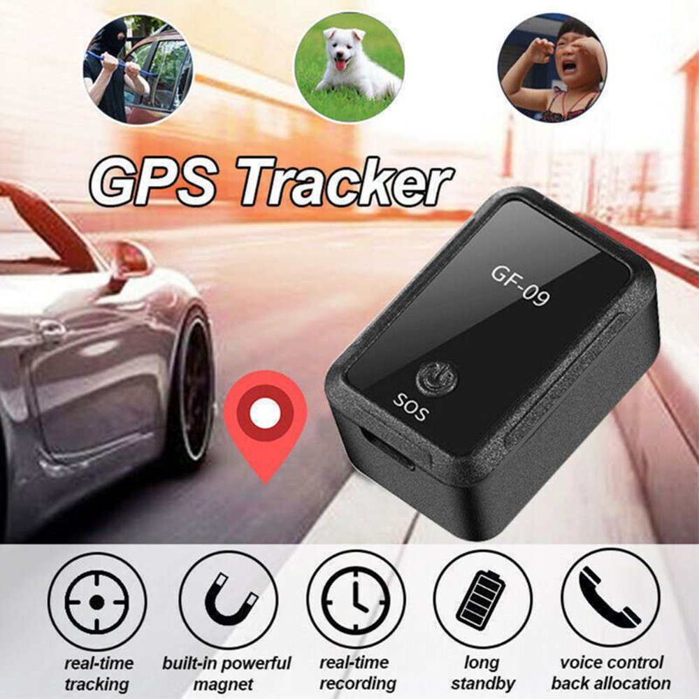 GF09 Mini GPS Tracker Real-time Tracking Locator for Car Kid Pet Safety - Black