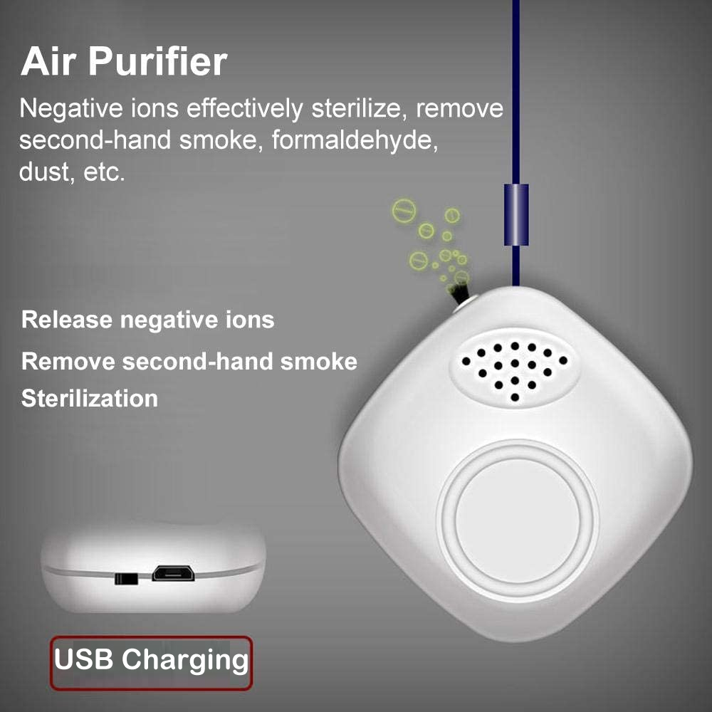 Household Purifier Neck Hanging Type Portable Negative Ion Air Purifier USB 5V- White 1pc