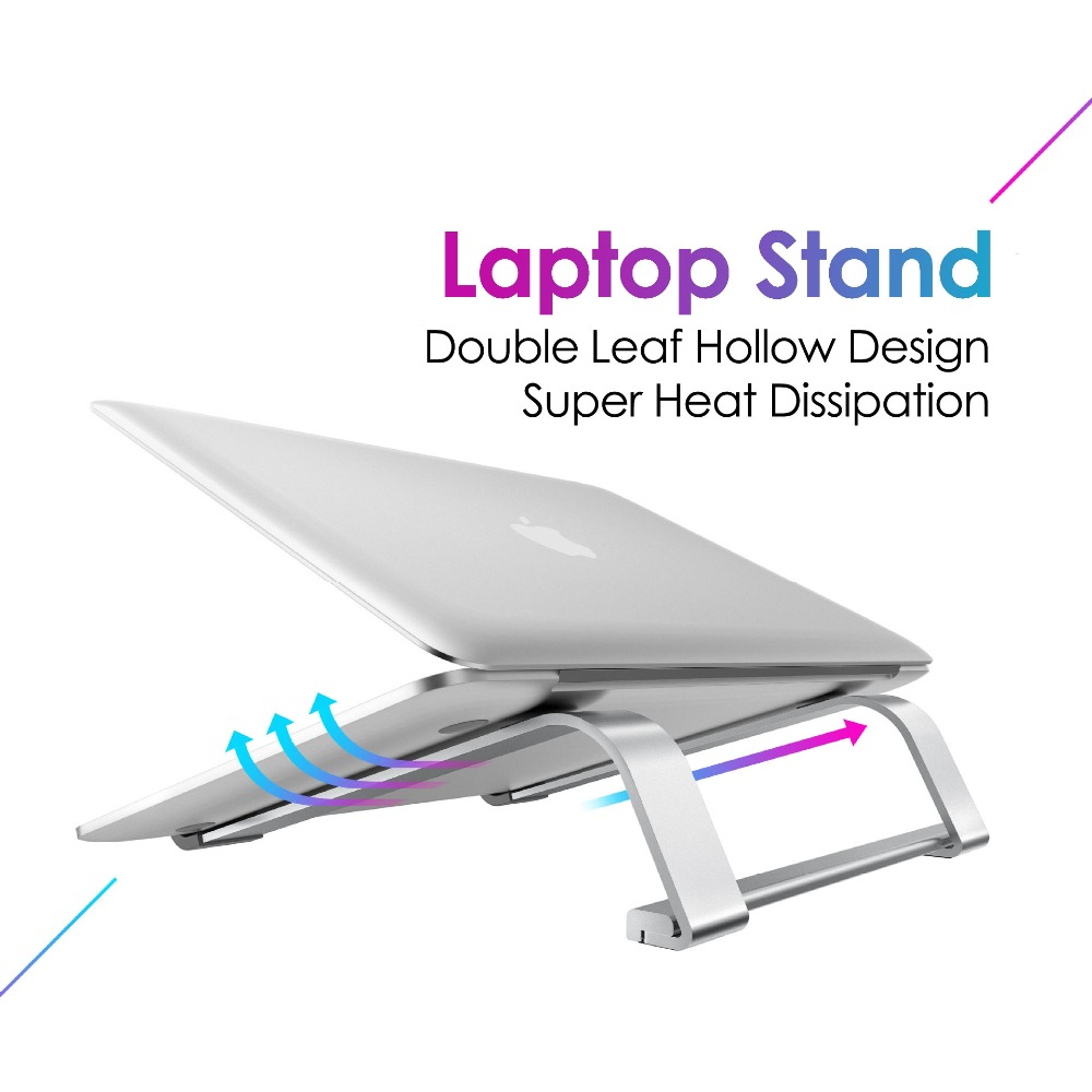 Aluminium Alloy Double Leaf Hollow Laptop Stand Desktop Tablet Holder Desk Mobile Phone Support for iPad Macbook Pro Air Notebook 5.0- Silver