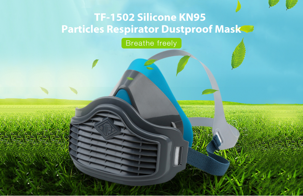 TF-1502 Silicone Particles Respirator with KN95 Fliter Dustproof Mask Anti-fog PM2.5 Face Masks Comfortable Outdoor Protection - Gray