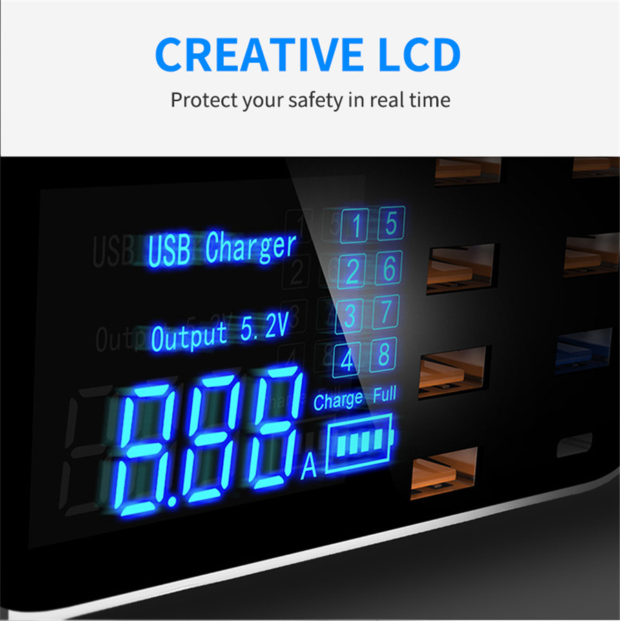 PD18W Multi-port USB Charger QC Intelligent Digital Power Strip LED Screen Display Charging Adapter - White