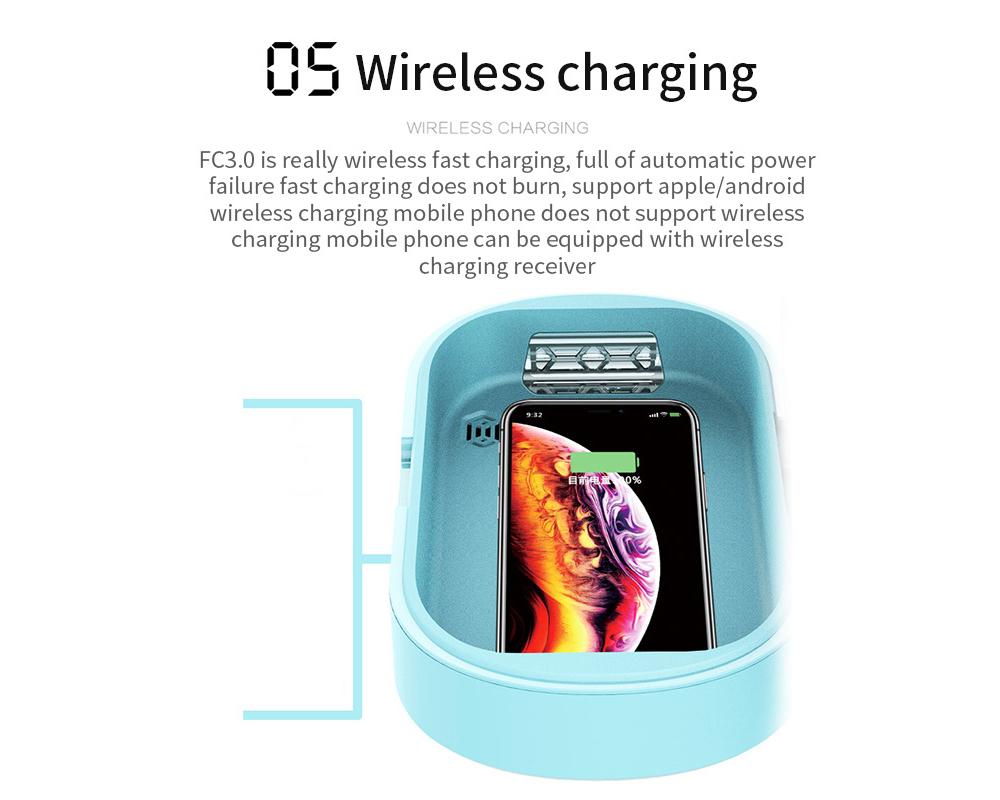 Brelong Multifunctional Sterilizing Box UV Disinfector Wireless Charging- Tron Blue