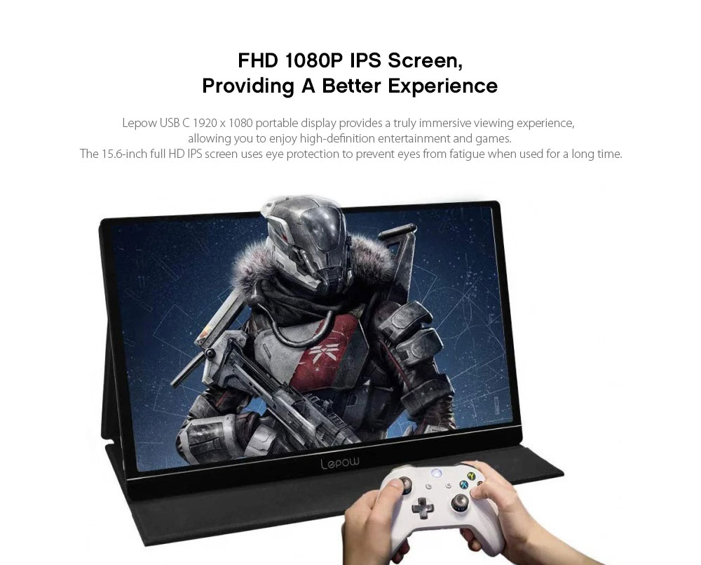 Z1 15.6-inch Computer Monitor 1920 × 1080 Full HD IPS Display USB C Game Monitor with Type-C Mini HDMI Support Switch PS4 XBOX Gamepad- Black EU Plug