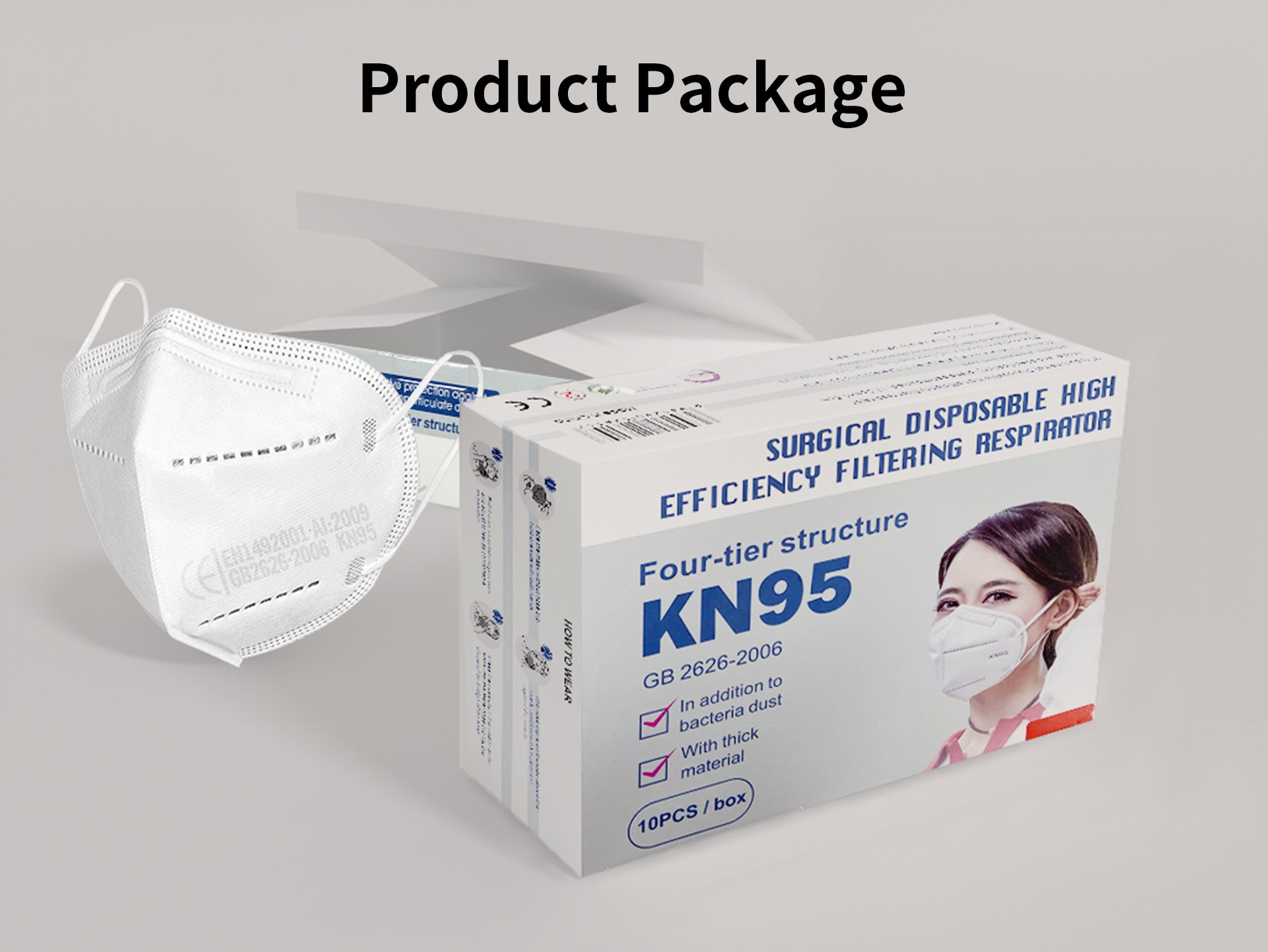 KN95 PM2.5 CE Certification Face Mask Anti-fog Strong Protective Mouth Mask FFP3 Respirator Reusable 10pcs- White
