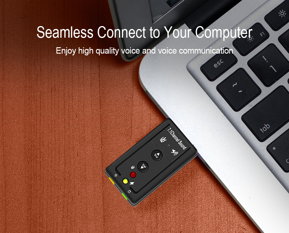 7.1 External USB Sound Card USB To Jack 3.5mm Headphone Audio Adapter Micphone Sound Card For Mac Win Compter Android Linux- Black