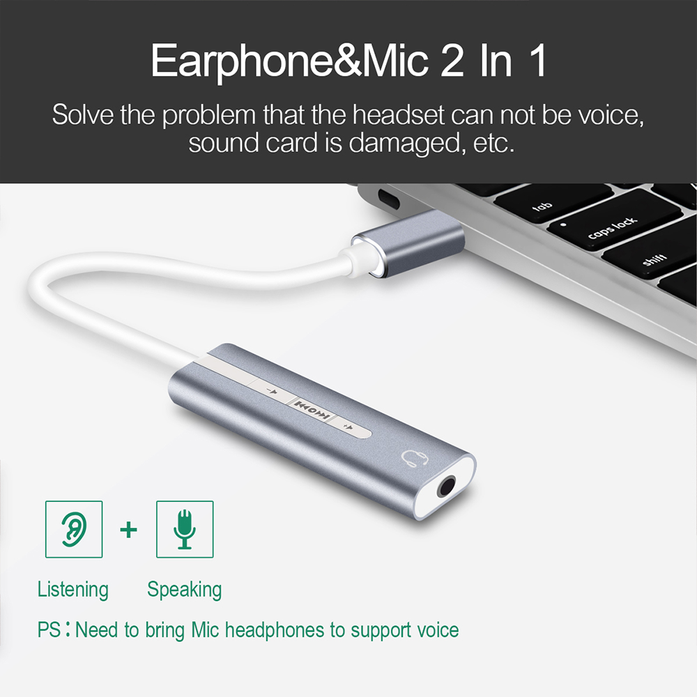 2-in-1 External Sound Card USB Type-C 3.5mm Jack Audio Earphone Microphone Cable AUX Headphones Adapter- Gray