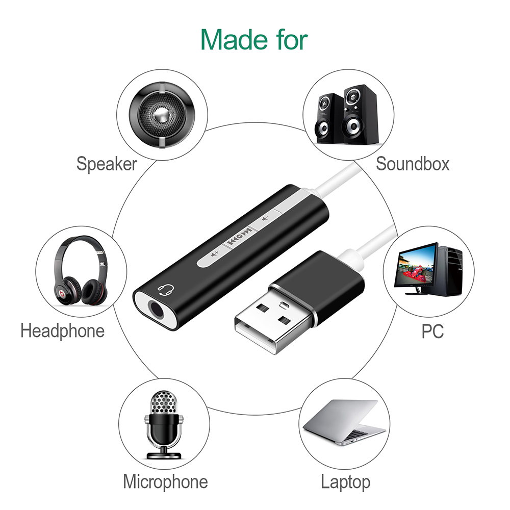2 IN 1 USB External Sound Card USB C / USB 3.0 To 3.5mm Jack Audio Microphone Headphone Adapter For Macbook PC Laptop Sound Card- Black