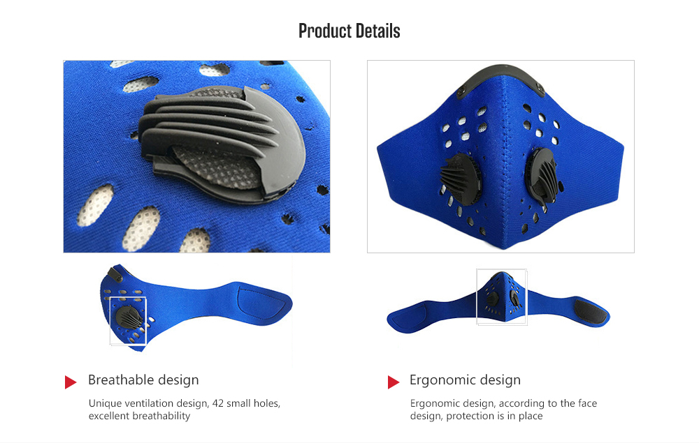 Cycling Activated Carbon Dust Mask - Blue