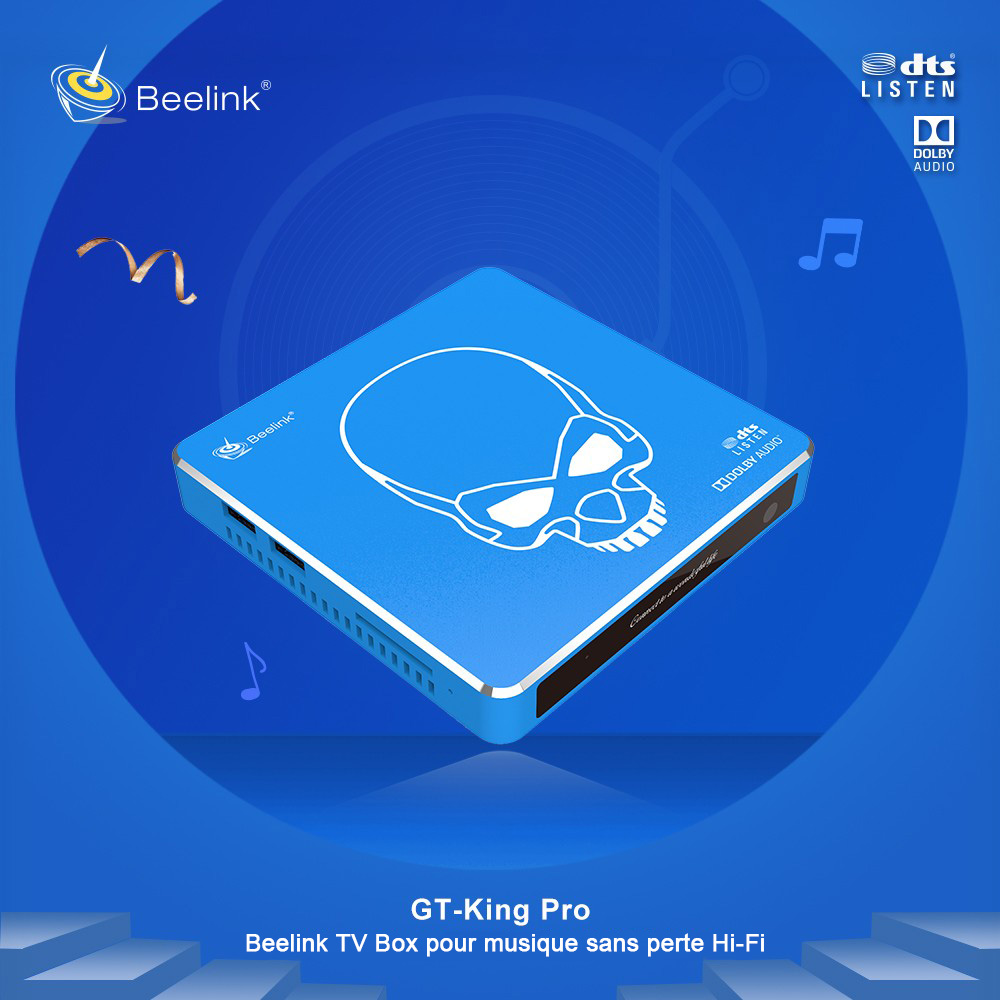 Beelink GT-King Pro Android 9.0 and CoreELEC Linux Dual Operating System HiFi Lossless Sound 4K TV Box - Crystal Blue 4GB DDR4+64GB EMMC EU Plug