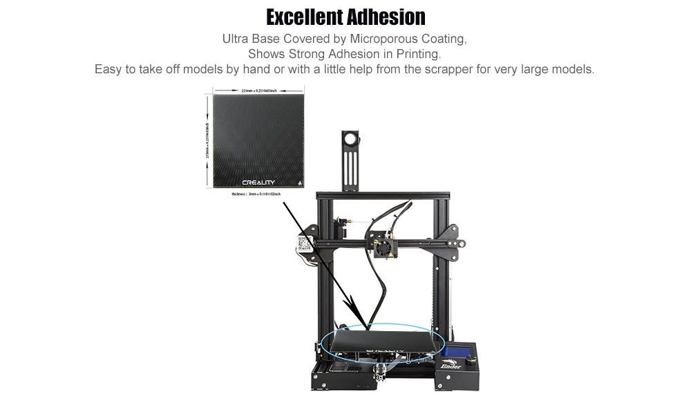 Creality Printer Platform Heated Bed Ultra Base Glass Bed for Ender 3 - Night