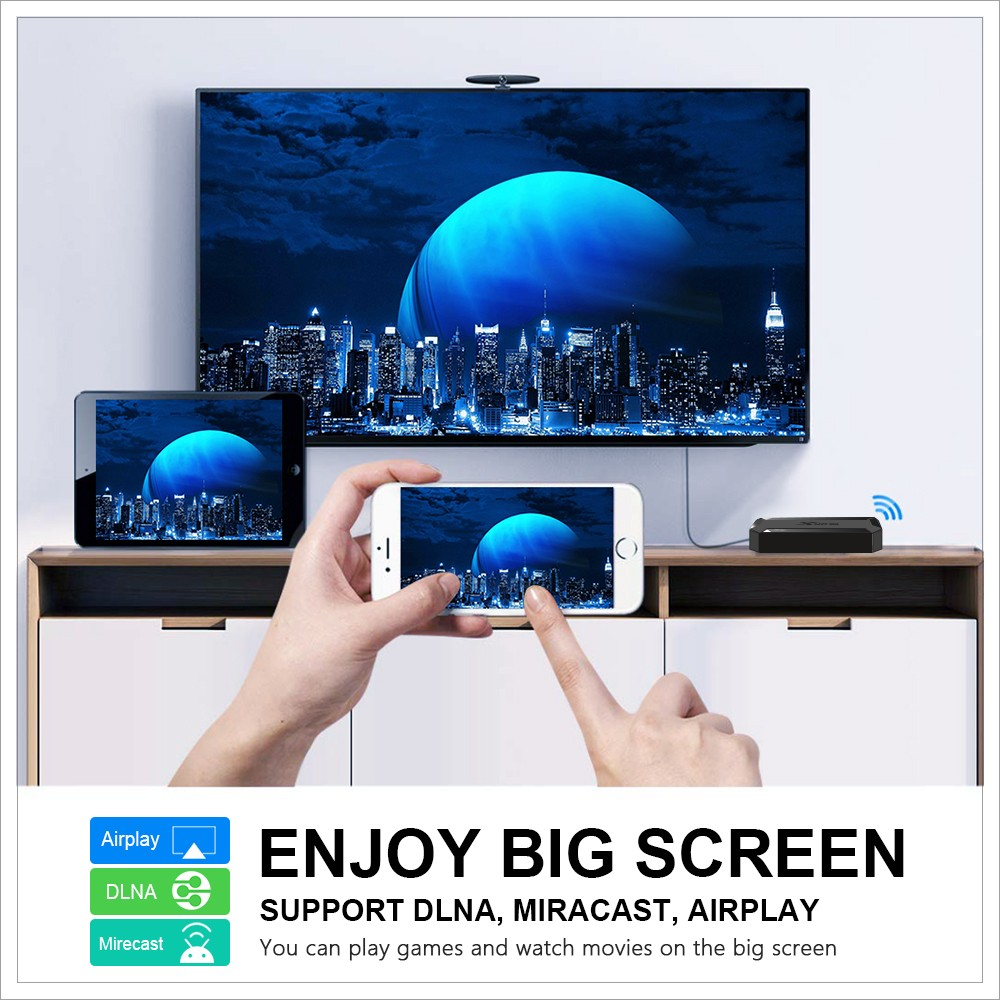 X96 X96Q Smart 4K TV Box Android 10.0 with Allwinner H313 2.4GHz WiFi 100Mbps H.264 H.265 HDR10 Support 4K 60fps - Black 2GB RAM + 16GB ROM EU Plug