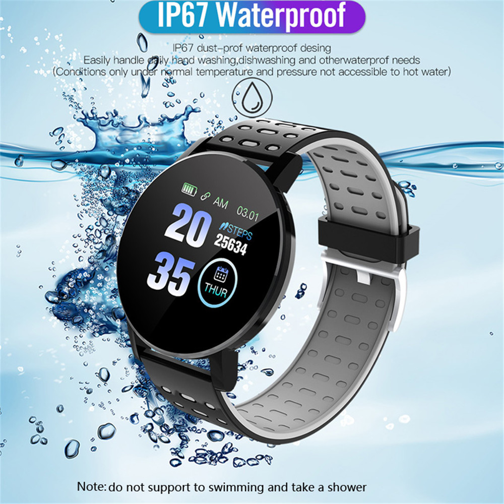 119Plus 1.3 inch Touch Screen Smart Bracelet Sport Pedometer Heart Rate, Blood Pressure Support Bluetooth Sleep Positioning Analysis - Platinum