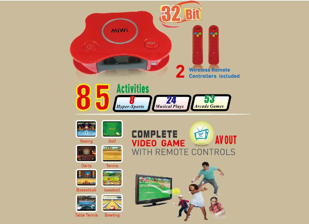 BL-5002 32 Bit Wireless Handheld TV Video Game Console Build in 85 Games Home TV Video Gaming Player Support AV Output Dual Players - Red