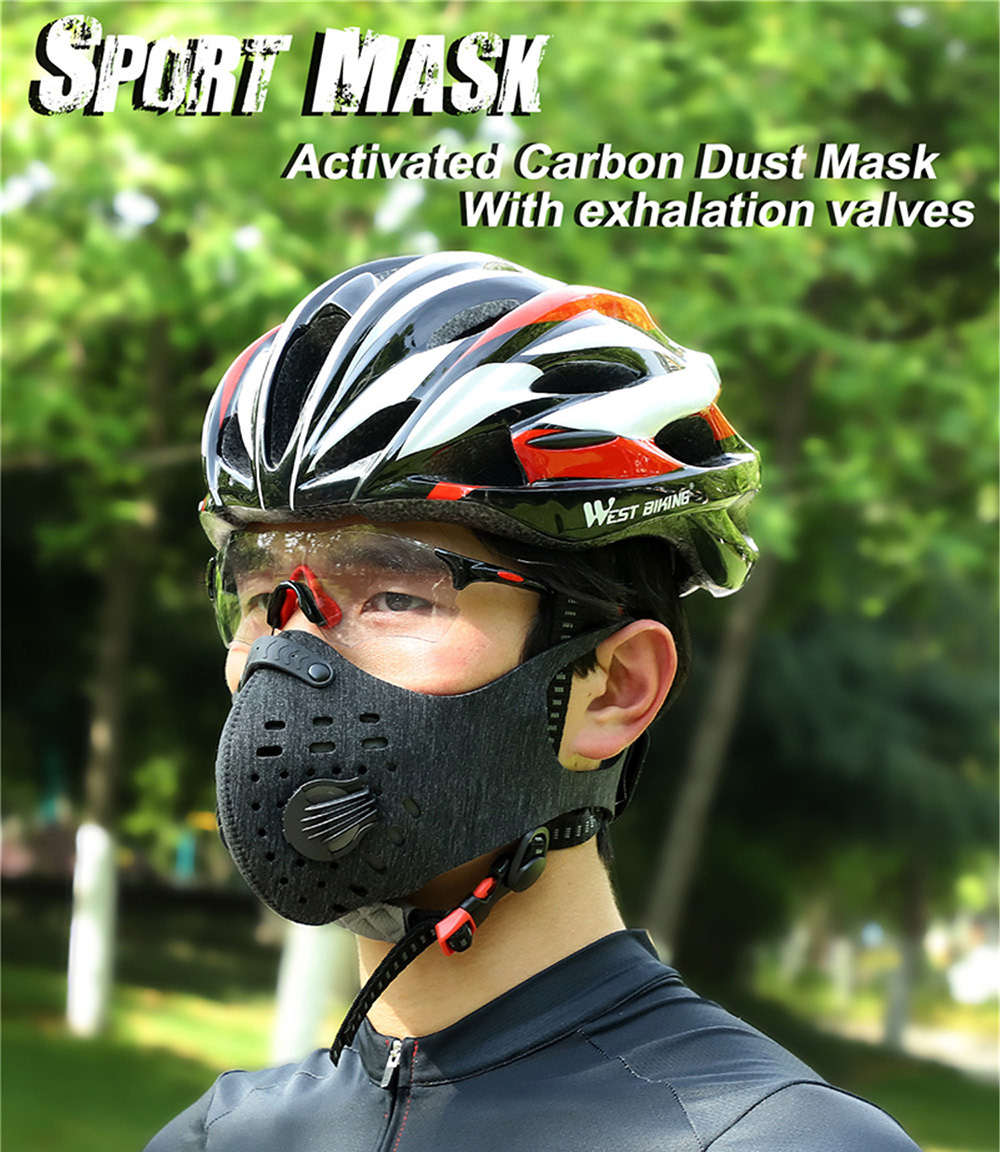 Face Mask with Replaceable Filter Breathing Valve 5 Layer Windproof Dustproof Respirator for Health Riding Sports - Deep Sky Blue