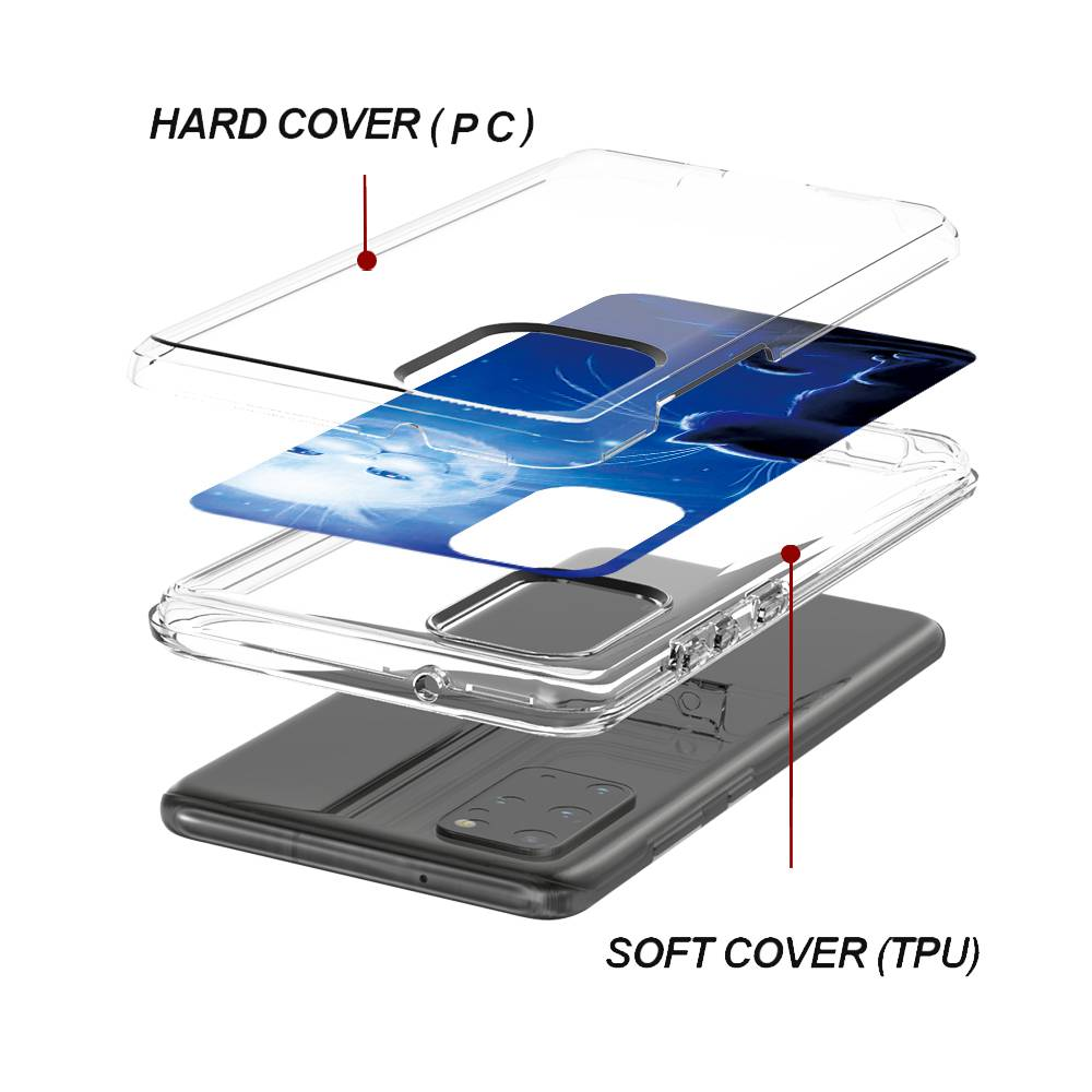 Two-In-One Card Transparent Phone Case for Samsung Galaxy S20 Plus - Multi-H