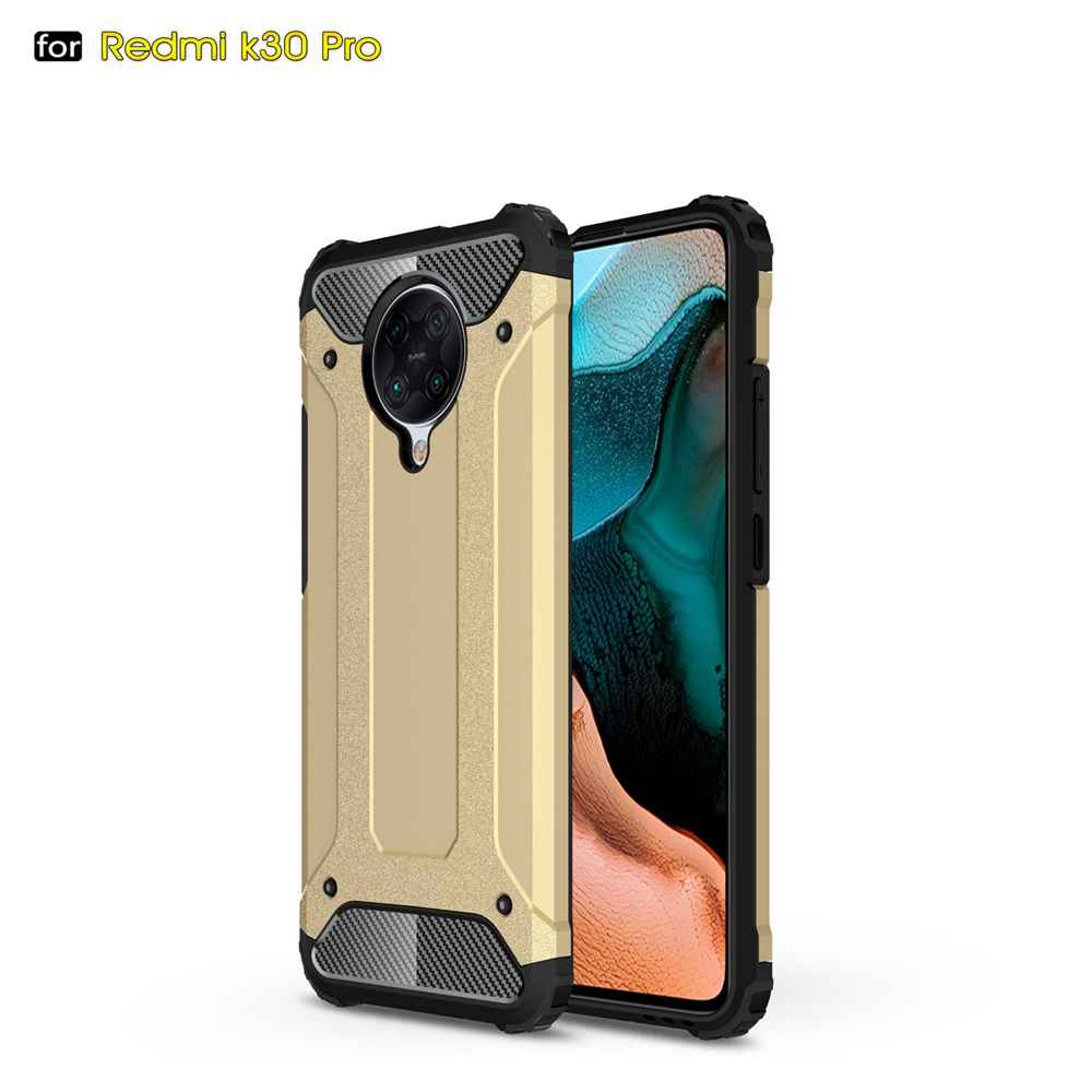 PC+TPU Gold Steel Armor Phone Case for Xiaomi Redmi K30 Pro/ K30 Pro Zoom - Blue Ivy