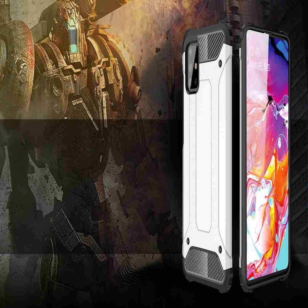PC+TPU Gold Steel Armor Phone Case for Samsung Galaxy A51/M40S - Rose Gold
