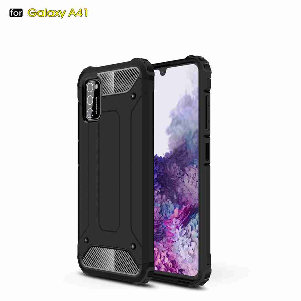 PC+TPU Gold Steel Armor Phone Case for Samsung Galaxy  A41 - Black