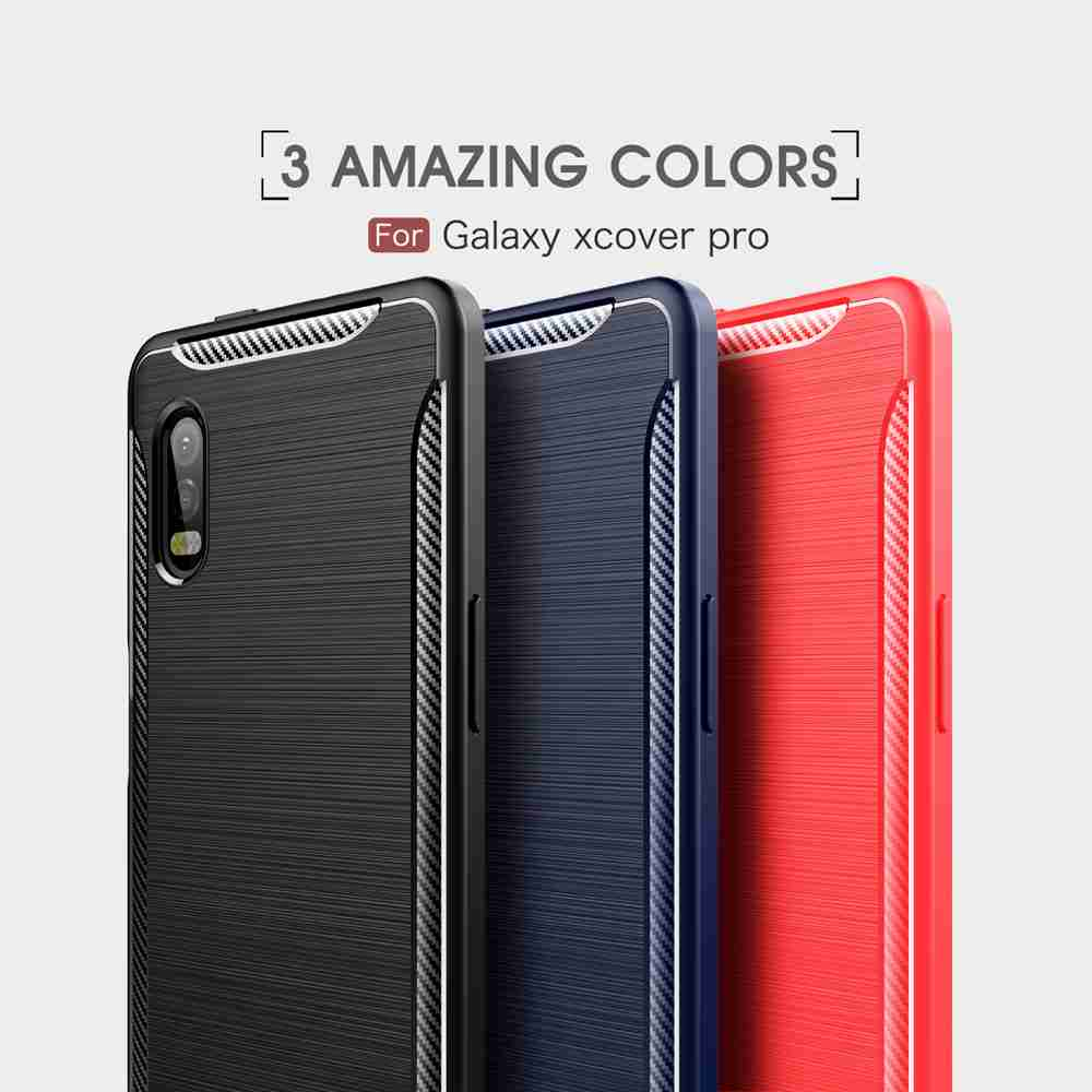 Solid Color Brushed Carbon Fiber Phone Case for Samsung Galaxy Xcover Pro - Rosso Red