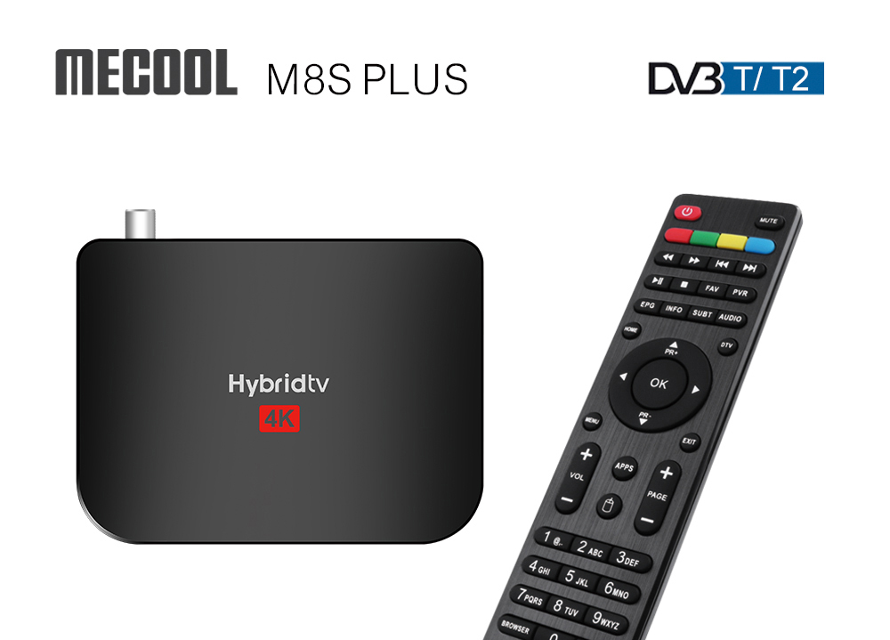 MECOOL M8S Plus DVB-T / T2 4K TV Box With Amlogic S905X2 Android 9.0 2.4GHz WiFi 100Mbps USB3.0 H.264 H.265 HDR10 Support Youtube Netflix Prime Video - Black 2GB DDR4 + 16GB ROM US Plug