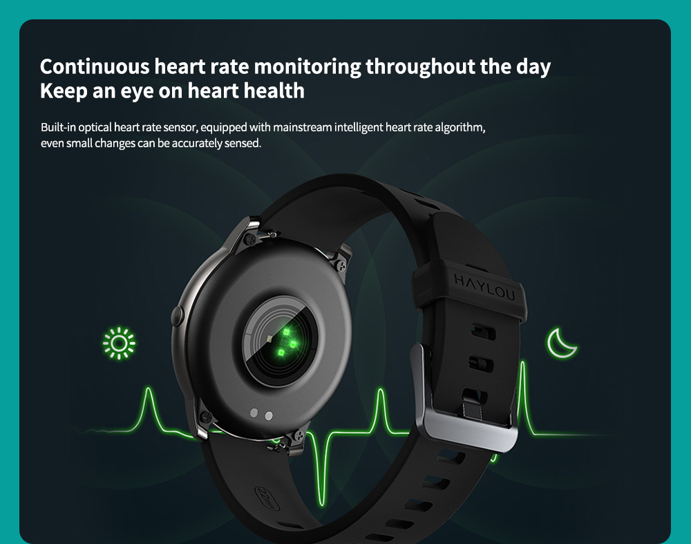 Haylou Solar Smart Watch Global Version Continuous heart rate monitoring throughout the day