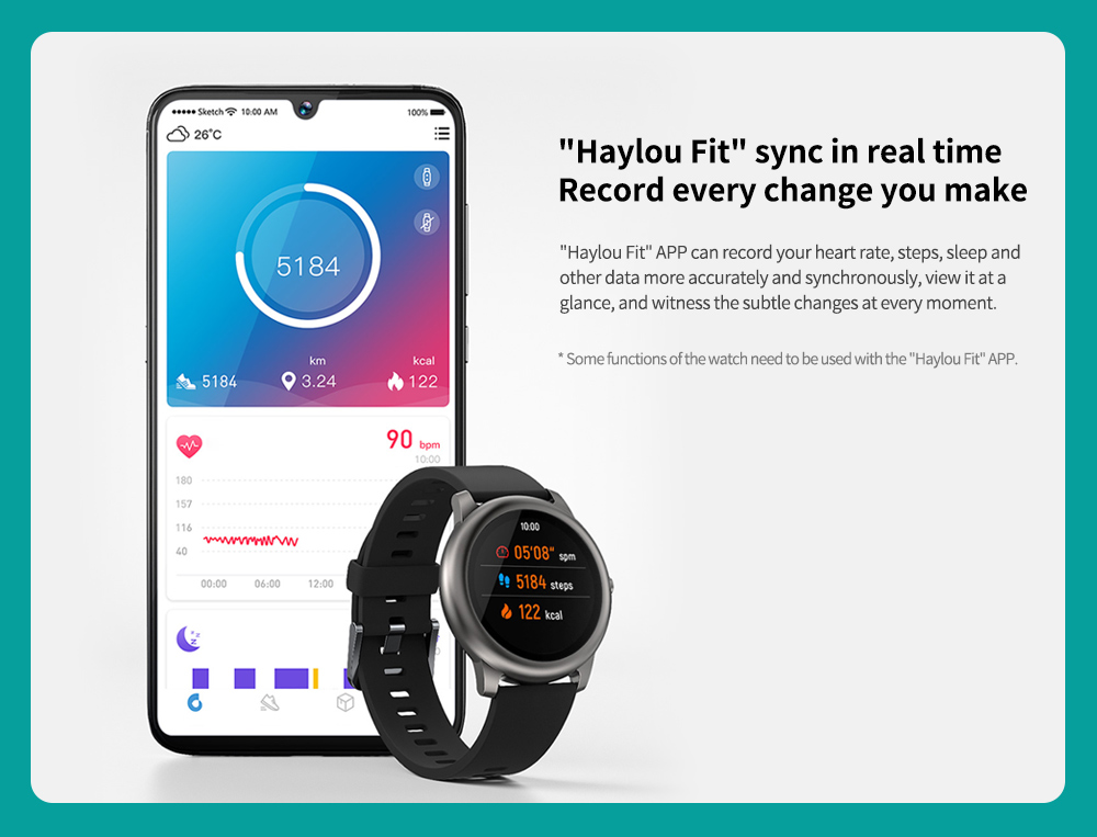 "Haylou Solar Smart Watch Global Version ""Haylou Fit"""" sync in real time"