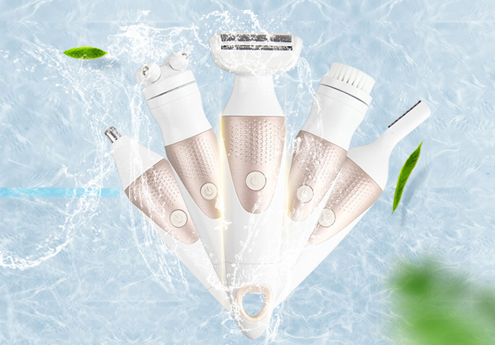 5-in-1 Multifunction Hair Shaver Waterproof Painless Lady Electric Beauty Instrument - White