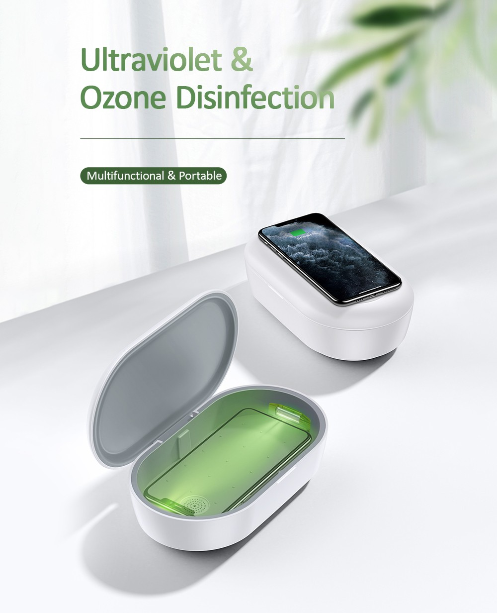 USAMS 3 in 1 Portable Multifunction 10W Wireless Charging Sterilizer - White