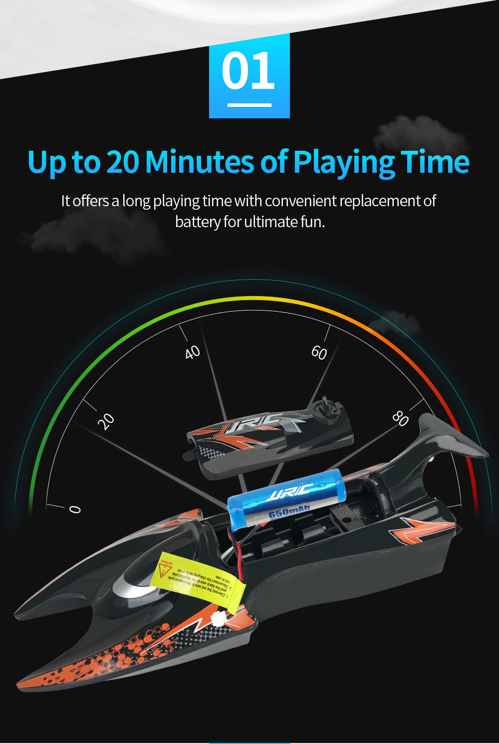 JJRC S6 2.4G Electric RC Boat Vehicle Model palying time