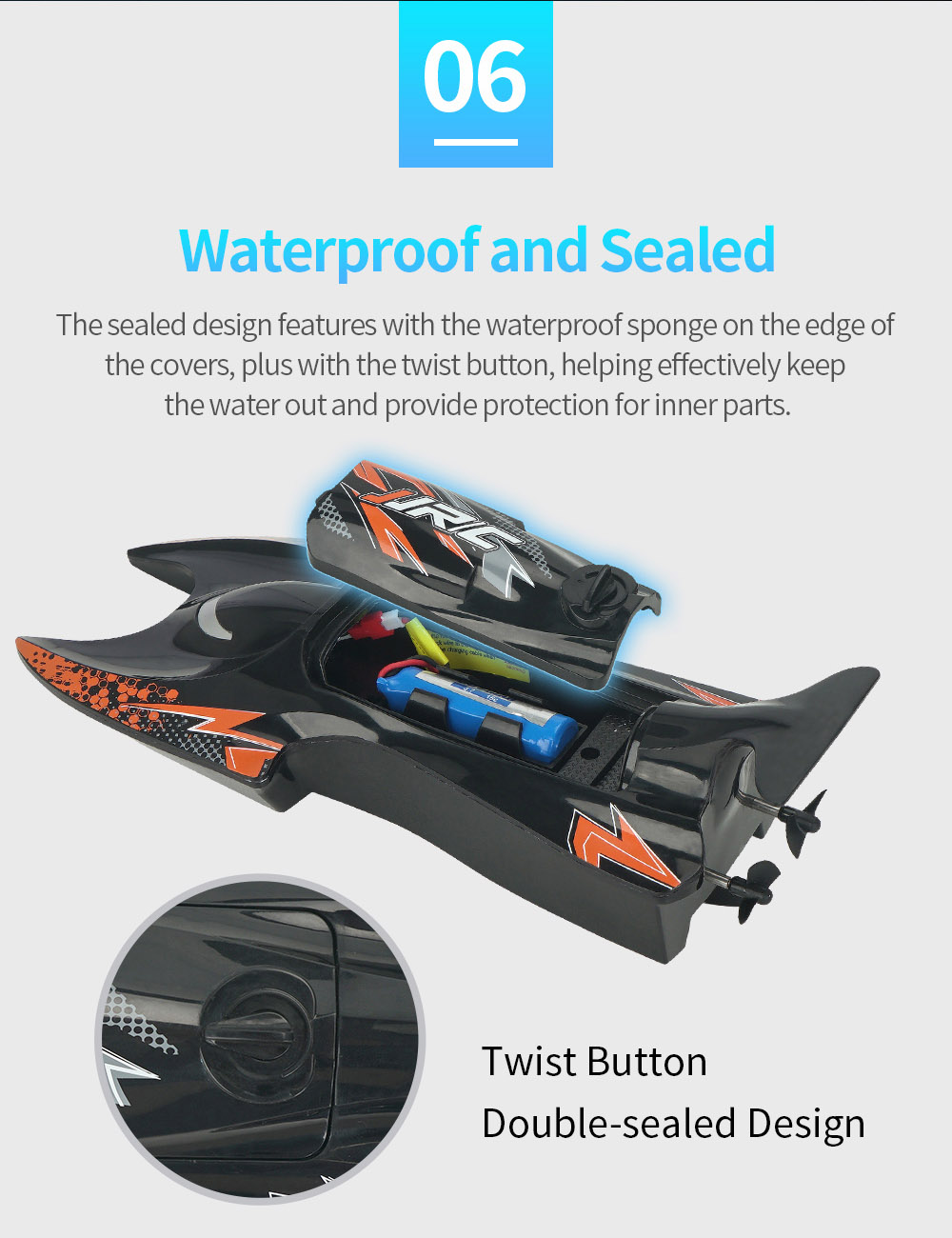 JJRC S6 2.4G Electric RC Boat Vehicle Model Waterproof and Sealed