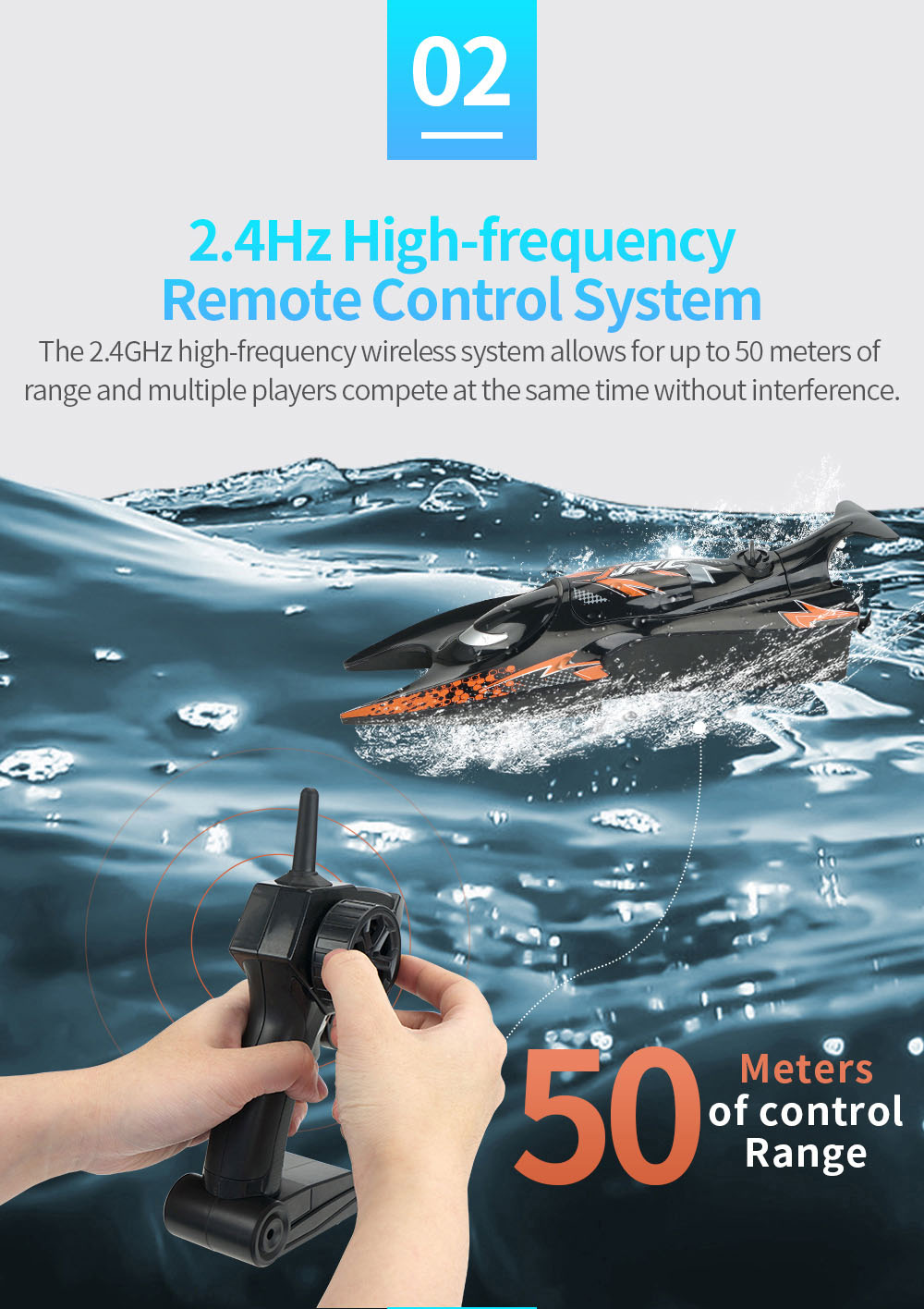JJRC S6 2.4G Electric RC Boat Vehicle Model 2.4Hz High-frequency