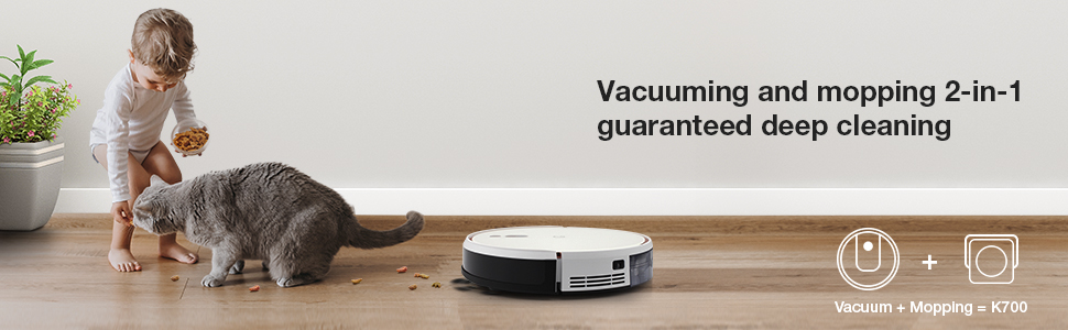K700 Robot Vacuum Cleaner with Smart Navigation, Turbo Mode Suction 2000Pa Quiet Cleaning, Ideal for Pet Hair Carpets Hard Floors - White EU Plug