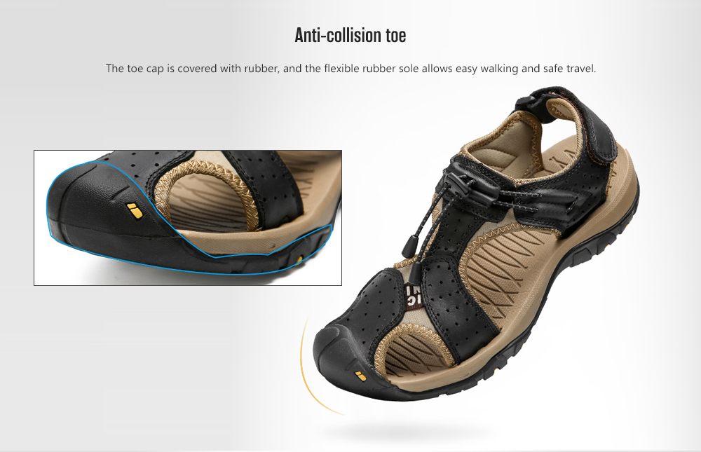 IZZUMI Hollow Men's Summer Outdoor Sandals Anti-collision toe