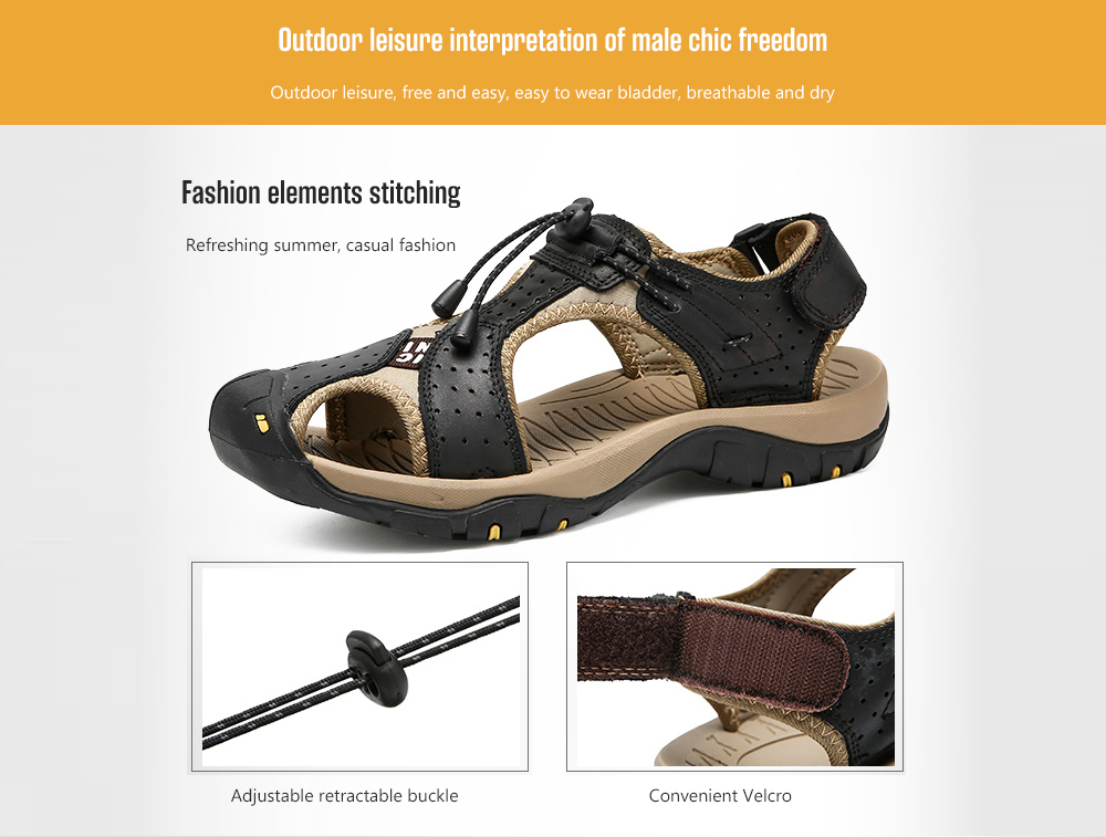IZZUMI Hollow Men's Summer Outdoor Sandals Fashion elements stitching
