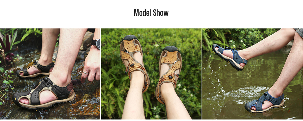 IZZUMI Hollow Men's Summer Outdoor Sandals model show