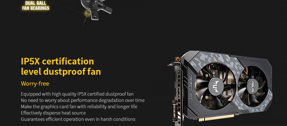 ASUS TUF-GeForce GTX 1660-O6G-GAMING Graphics Card with 12nm Core Process 8002MHz Memory Frequency 2 Cooling Fan 192-bit 6GB Memory Capacity GDDR5 - Black